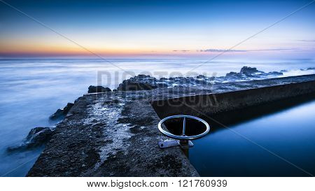 Tidal Pool Or Reservoir In Dusk Or Dawn