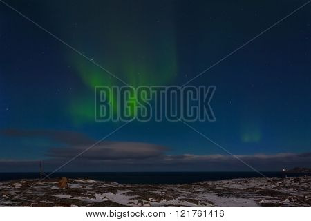 The beautiful aurora borealis over the Arctic Ocean