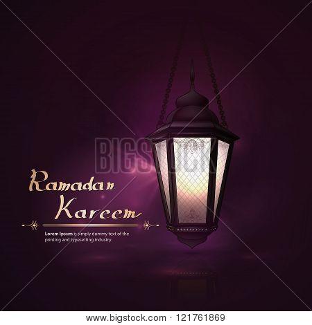 Arabic Vector Lamp On Dark Abstract Background For Ramadan Kareem