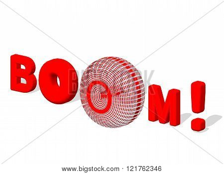 BOOM. 3d text Boom poster isolated white background. EPS 10 vector illustration.