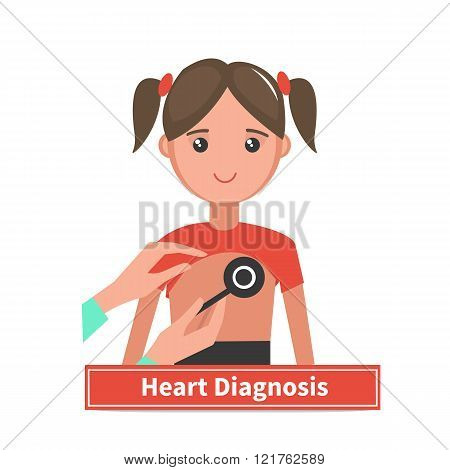Doctor with stethoscope listening to child chest. Children heart Diagnosis. Illustration isolated on White background.