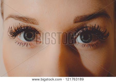 Dramatic shot of a beautiful woman eyes looking at camera long artificial lashes