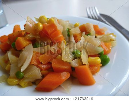Cooked And Mixed Vegetable Salad