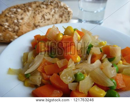 Cooked Vegetable Salad With Bread