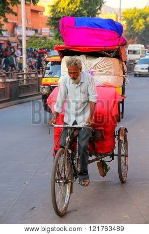 Jaipur, India - November 15: Unidentified Man Drives Pedicab At Johari Bazaar Street On November 15,