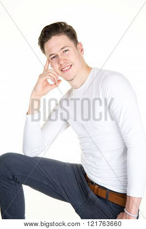 Portrait Of Young Attractive Man Laughing Man Against White Background.