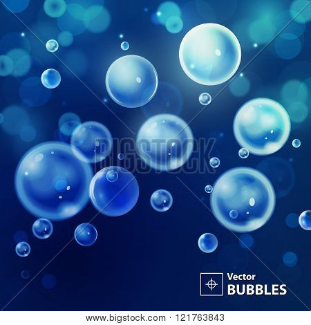 Dark blue blur background with bubbles. Holiday abstract backgro