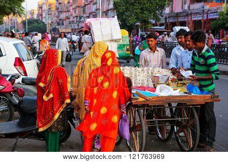 Jaipur, India - November 13: Unidentified People Walk At Johari Bazaar Street On November 13, 2014 I