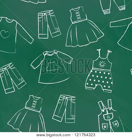 Seamless pattern green chalk board with cute dresses for the little girl. Collection of clothing in