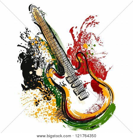 Electric guitar. Hand drawn grunge style art. Retro banner, card, t-shirt, bag, print, poster.Vintage colorful hand drawn vector illustration