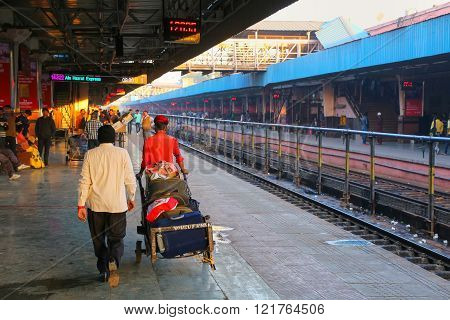 Jaipur, India - November 15: Unidentified People Walk At Jaipur Junction Railway Station On November