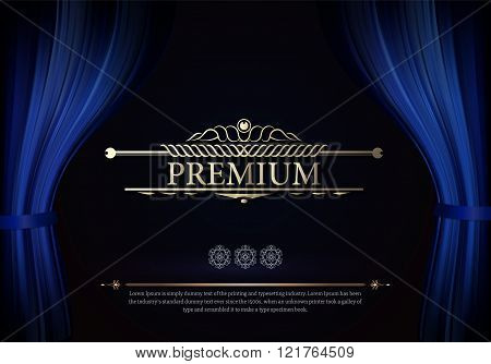 Dark blue curtain scene gracefully. Cover with vertical motion b