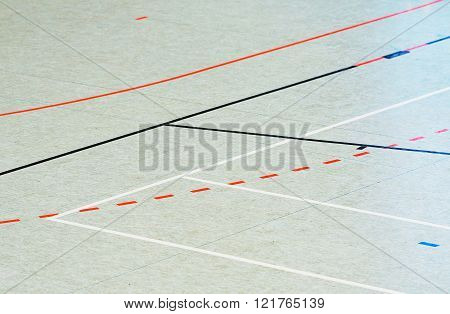 Basketball and Handball Hall floor in a gymnasium with diverse lines