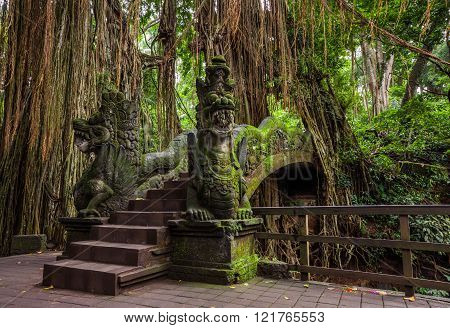 Dragon Bridge in Sacred Monkey Forest Sanctuary Ubud Bali Indonesia