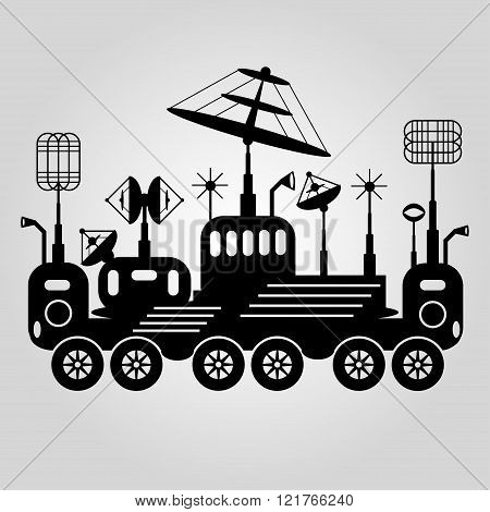 Black And White Graphic Illustration Lunar Rover