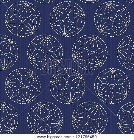 Sashiko motif. Plum Blossoms. Seamless pattern.