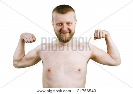 Funny Bearded Man Shows His Biceps