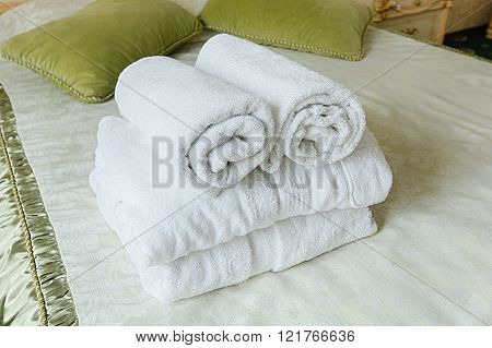 Towel in Hotel bedoom. Welcome guests room service