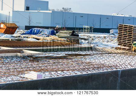 Carcass Work Of A Basement Level Ceiling