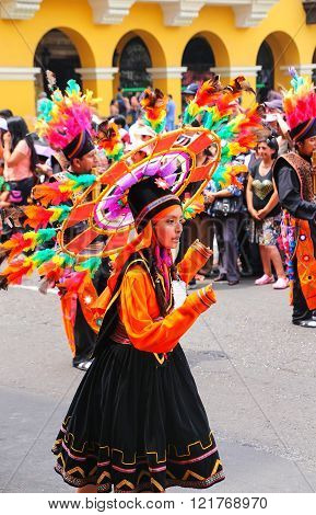 LIMA, PERU-JANUARY 31: Unidentified woman performs during Festival of the Virgin de la Candelaria on January 31,2015 in Lima, Peru. Core of the festival is dancing performed by different dance schools