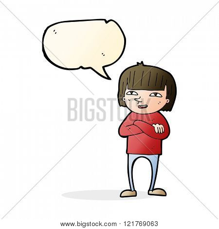 cartoon happy person with speech bubble
