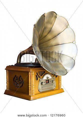 Foto de gramofone retrô isolado sobre fundo branco