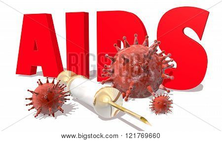 Abstract virus image on backdrop and AIDS text. AIDS virus danger relative illustration. Medical research theme. Virus epidemic alert. 3D rendering