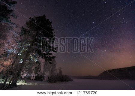 Night Sky In Forest, Frozen Lake With Night Stars Sky, Russian Winter In The Night