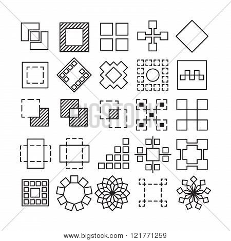 Vector Set Of Square And Rectangle Experimental Icons