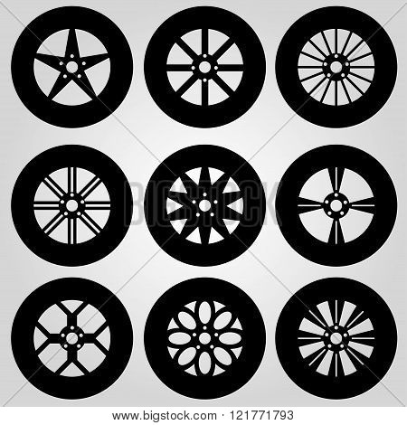 monochrome car wheels collection vector illustration abstract high quality