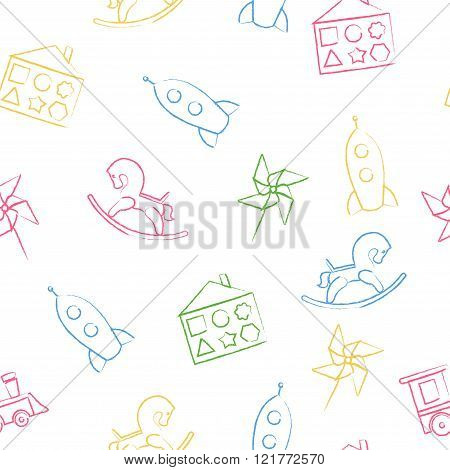 Seamless pattern color children's chalk drawings on white background. Hand-drawn style. Seamless vec