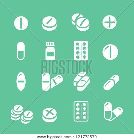 Medical pills  white icons set, vector collection.