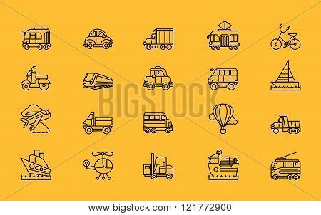 Kinds of Transport Set Black Outline Icons