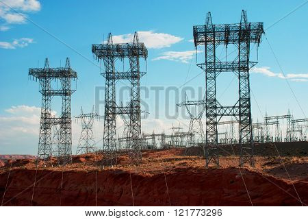 Power Lines From The Power Plant On The Colorado River, Glen Canyon,  Usa