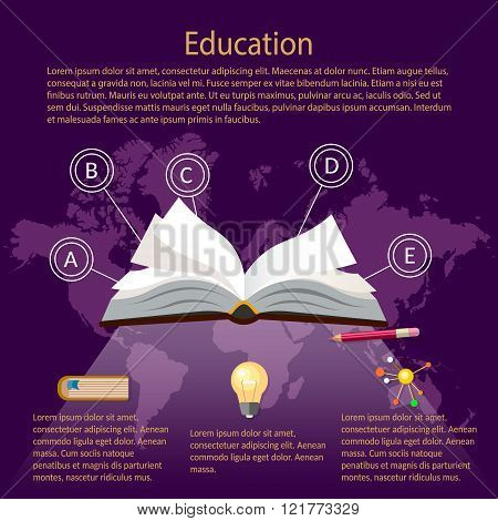 Education Infographics open textbook World Map Purple Background