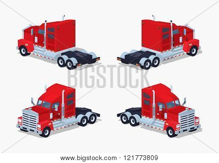 Low poly red heavy american truck