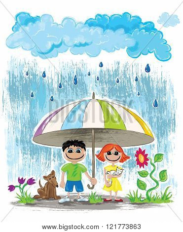 rainy day with rainbow kids with pets hiding under umbrella vecotr illustration