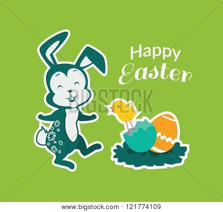Easter Rabbit Icon Egg Design Flat
