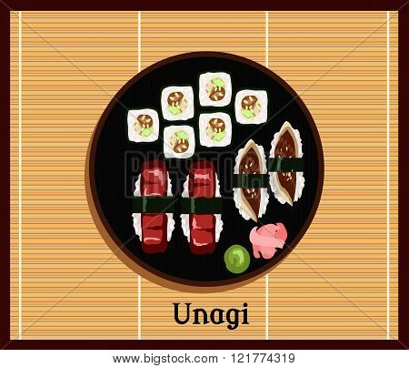Unagi Sushi Design Flat Food Japanese