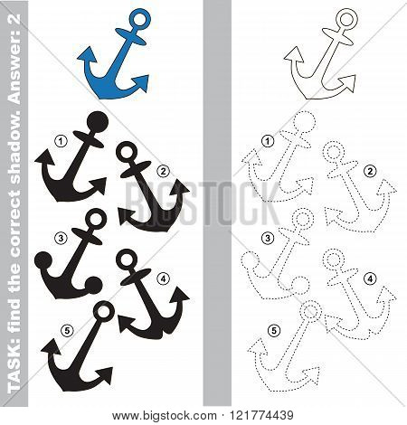 Anchor with different shadows to find the correct one. Compare and connect object with it true shadow. Visual game for children.