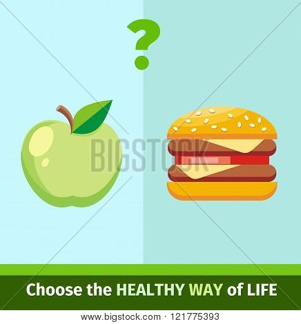 Apple or Burger Food Design Flat