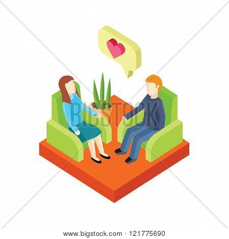 Couple Love in Armchair 3d Isometry