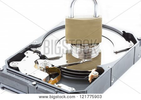 Computer hard disk drive closeup with locker