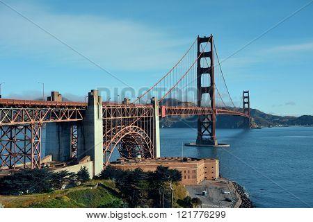 Golden Gate Bridge in San Francisco with flower as the famous landmark.