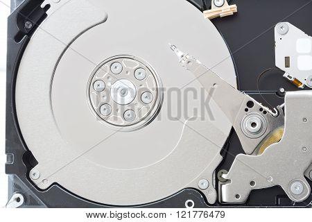Computer hard disk drive in a case, closeup shot
