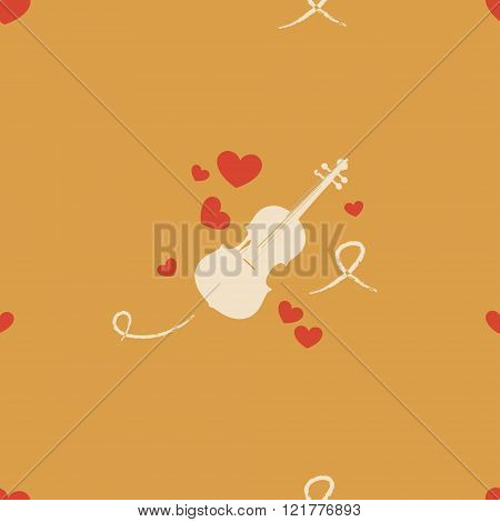 Pattern With Hearts And Violin