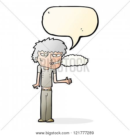 cartoon smoker with speech bubble