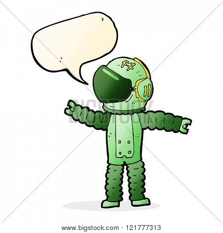 cartoon astronaut reaching with speech bubble