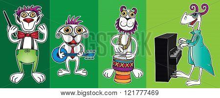 little cute cartoon alien musicians playing instruments