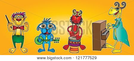 litlle alien musicians band with banjo piano and drum
